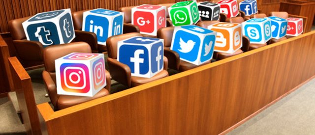 social media icons in jury box signify using social media to pick jurors