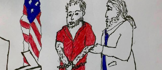 drawing a friend did of me representing shackled client in court