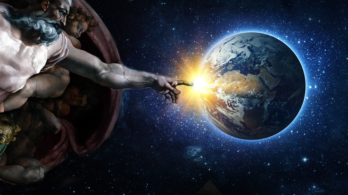 composited image made by me to show G-d healing the world
