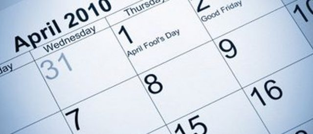 April 2010 Calendar showing April Fool's caption on the first day of the month