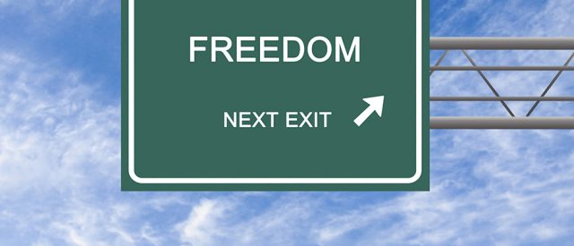 street sign showing freedom is at the next exit