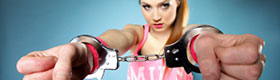 Teen girl in cuffs