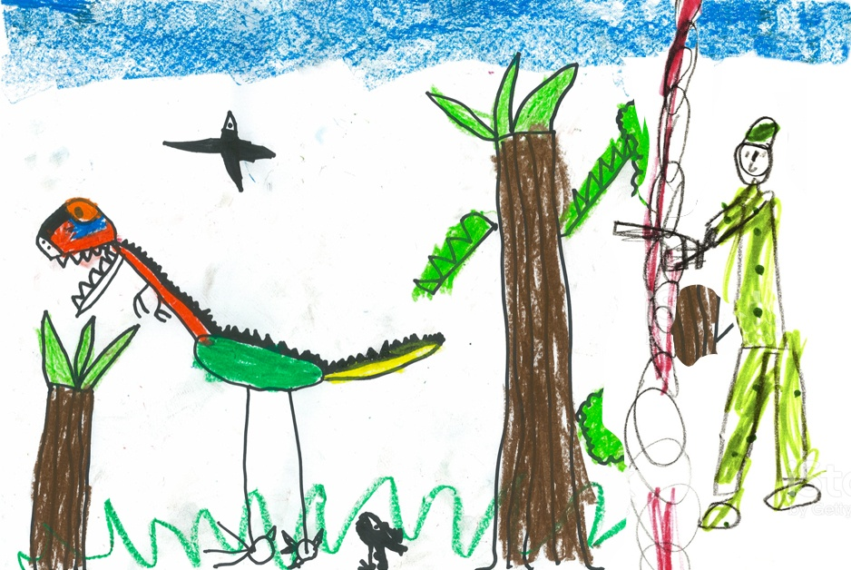 child's drawing of pet dinosaur being shot by man