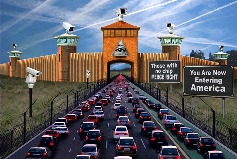 cars entering fortified U.S. with signs of surveillance cameras, etc. on entering America