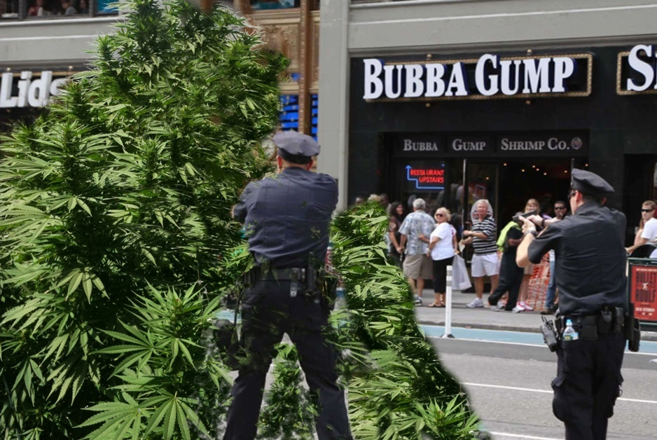 police shooting marijuana plant (photoshopped)