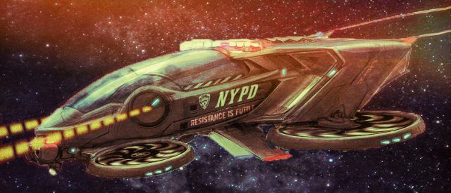 NYPD spaceship: no doubt one of their wildest dreams