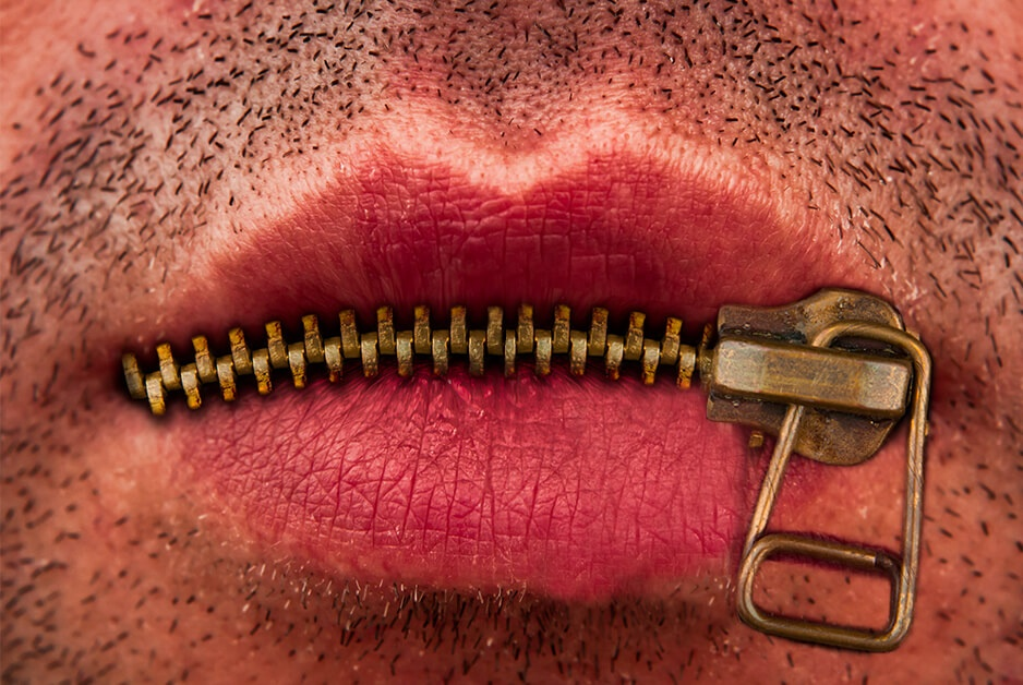 mouth zippered shut to exercise Fifth Amendment right to remain silent
