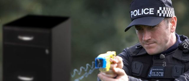 Cop fires taser at file cabinet; could that ruin electronically-stored data?