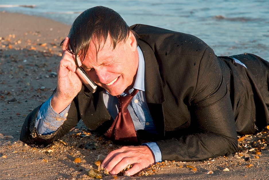 lawyer washed up on beach crying into cellphone