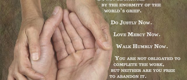 Make the world a better place. Do not be daunted by the enormity of the world's grief. Do justly, now. Love mercy, now. Walk humbly now. You are not obligated to complete the work, but neither are you free to abandon it.
