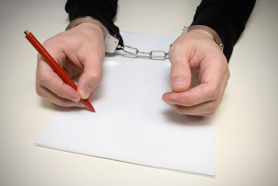 handcuffed to tell stories by writing a confession