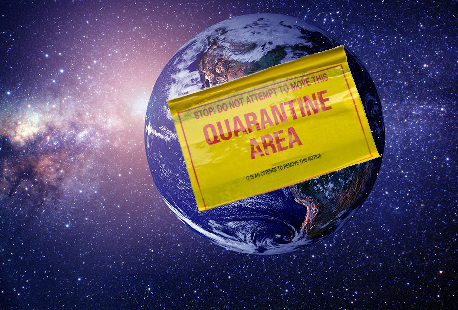 picture of earth with quarantine sign - apocalyptic justice in effect