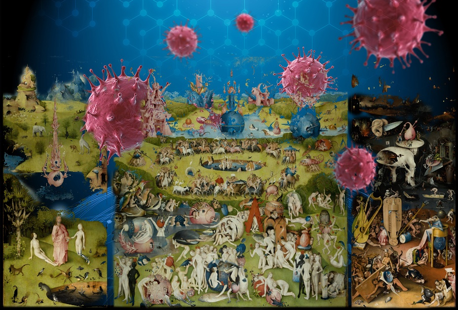 blended image of the Garden of Earthly Delights by Hieronymous Bosch and coronviruses arising from the landscape