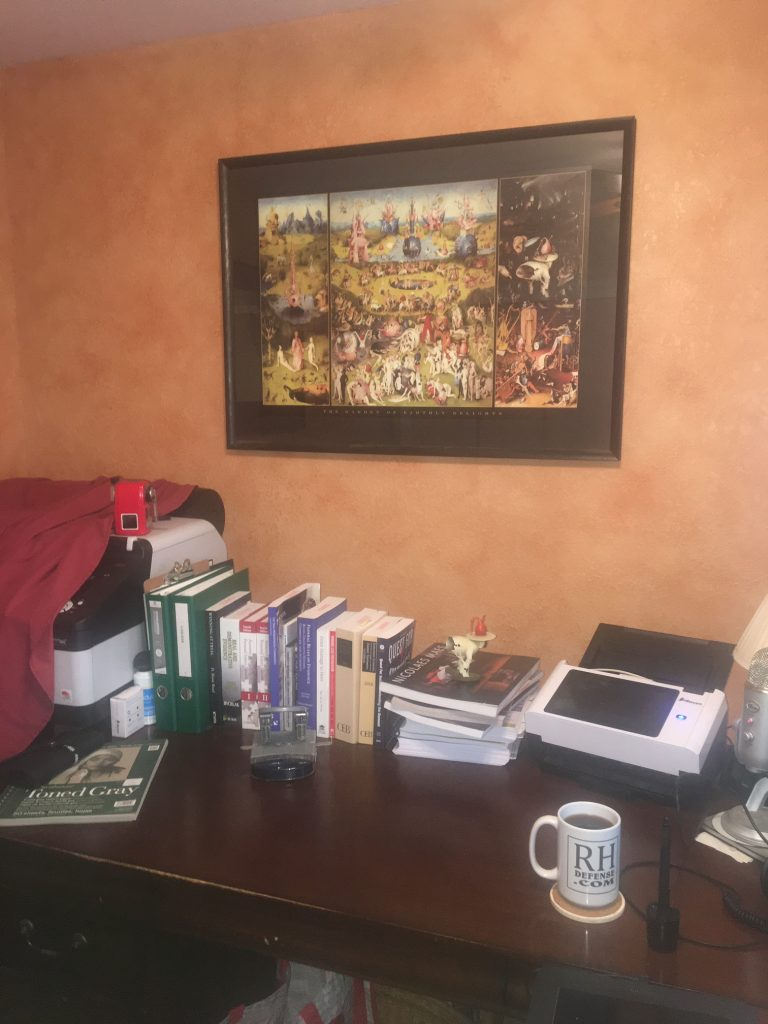 photo showing garden of earthly delights hangs in my coronavirus hanging in my home office