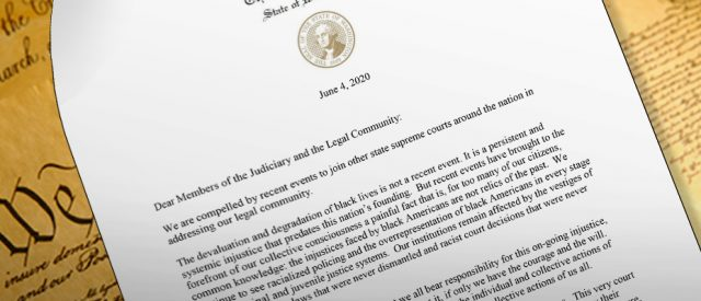 image of WA Supreme Court letter that offers possibility of hope on legalized racism