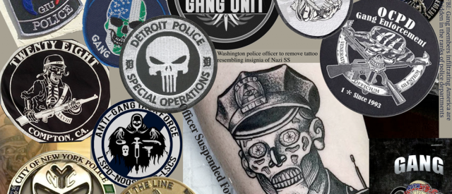 montage of gang cops insignias found for various police agency gangs