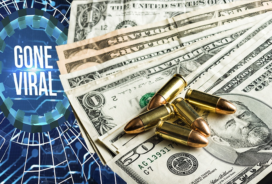 image showing tech web, bullets, and money, demonstrating that crime goes viral and crime pays