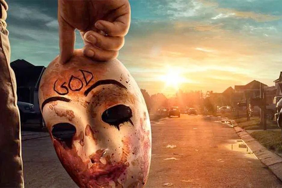 mask against sunrise of the purge