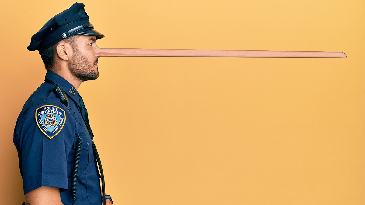 Cop with a long nose like a Pinocchio Cop who has lied