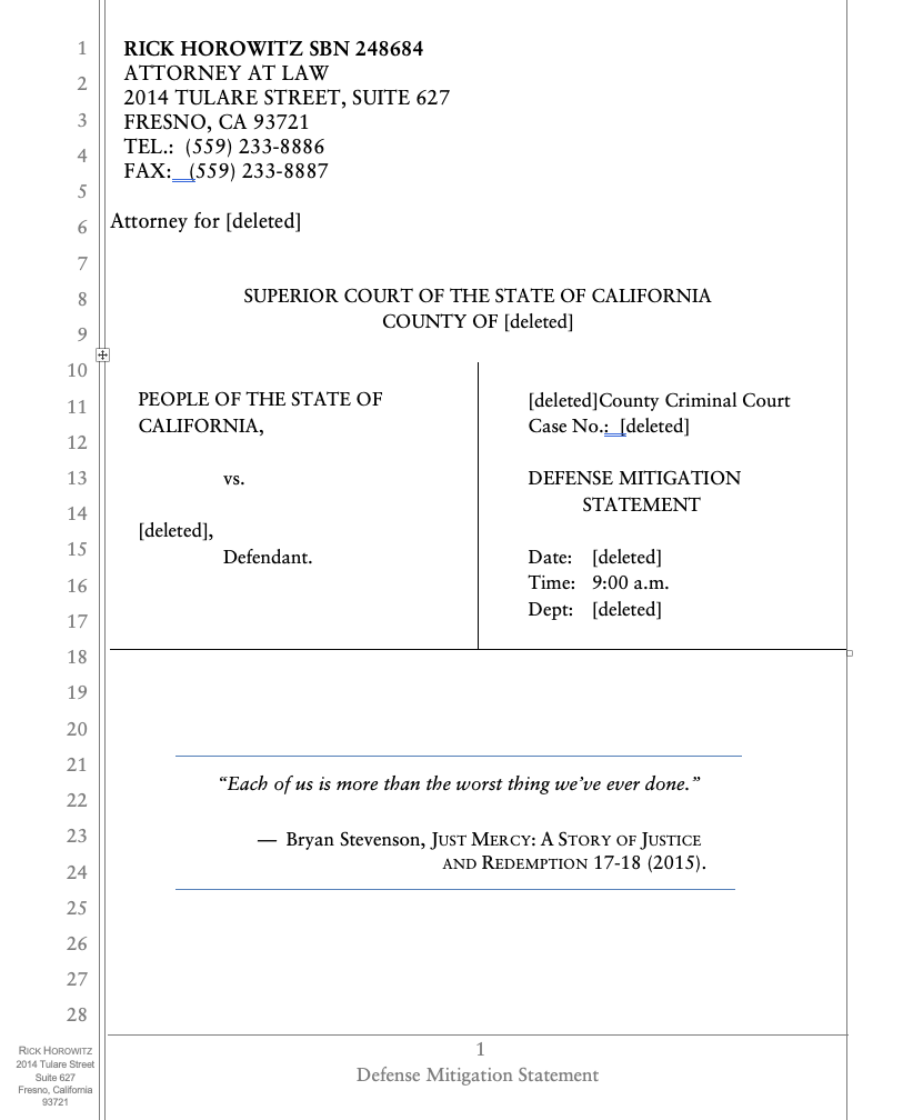 page one of defense mitigation statement brief that the court didn't have time to read showing that it is not dense with text and should be a quick read