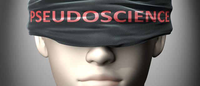 """face with blindfold that says """"pseudoscience"""" demonstrates how Child Sexual Abuse Accommodation Syndrome, or CSAAS, blinds us in sex cases"""